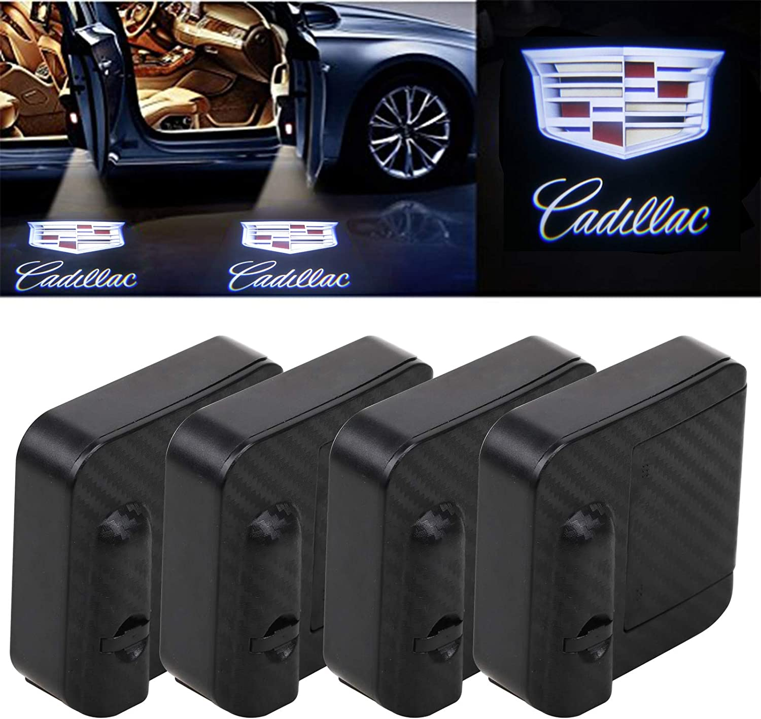 4-Pack For Cadillac Car Door Lights Logo Projector Universal Wireless New upgraded version Car Door LED Logo Lighting Projector Welcome Lights Fit All Cadillac Car Models