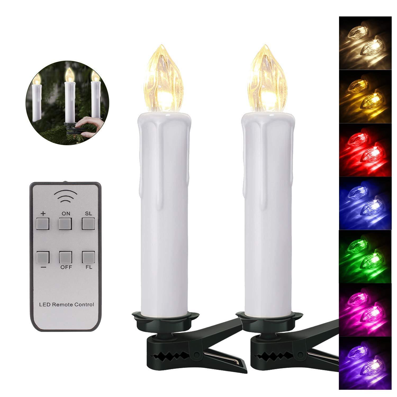 60er Weinachten LED Kerzen Kabellos RGB Weihnachtskerzen Christbaumkerzen Dimmen Flackern Baumkerze-Set,LED-Lichtfarbe RGB + warmweiß