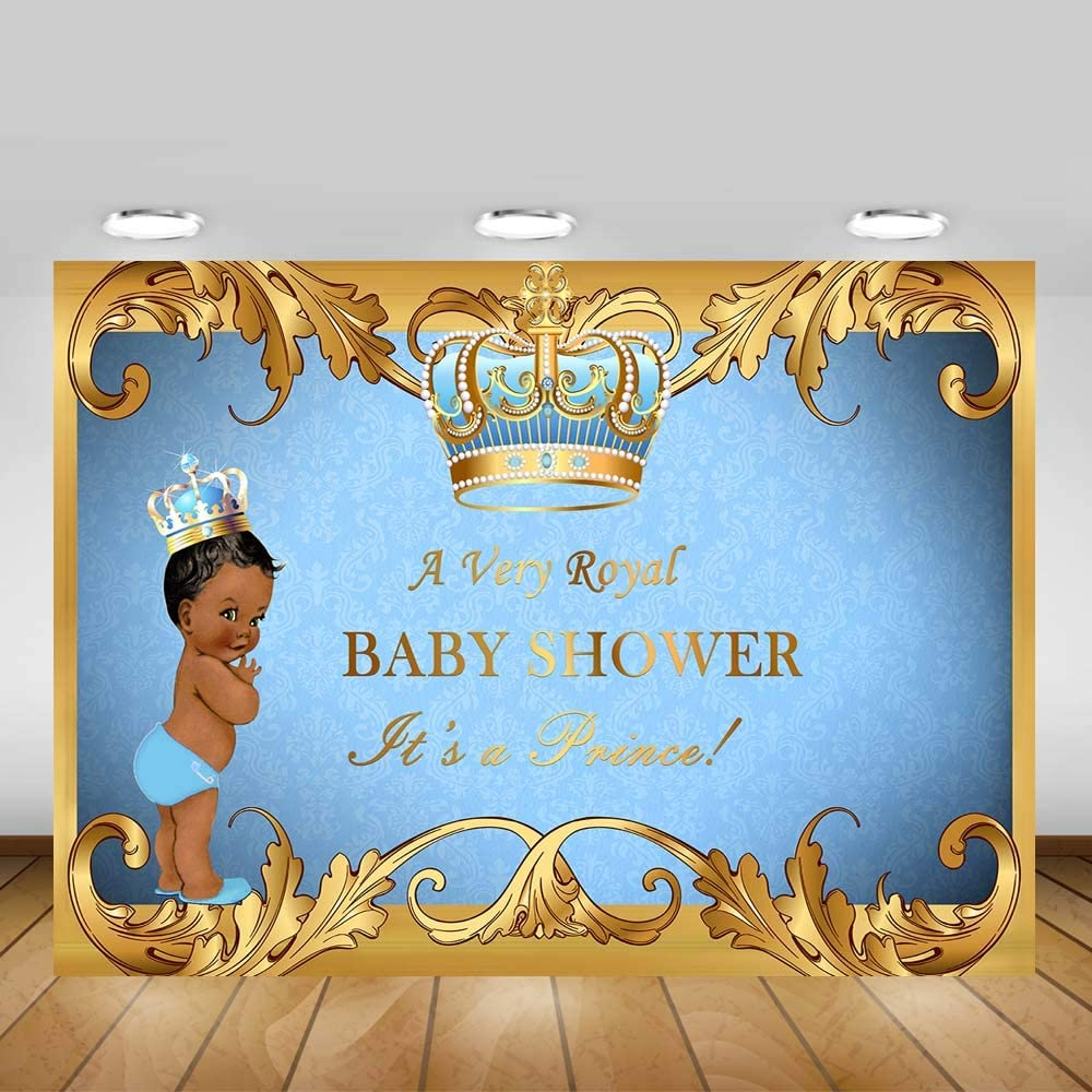 Baby Shower Games Package Digital Instant Download Football Royal Blue White /& Gold Vintage Baby Boy African American Medium Skin Tone