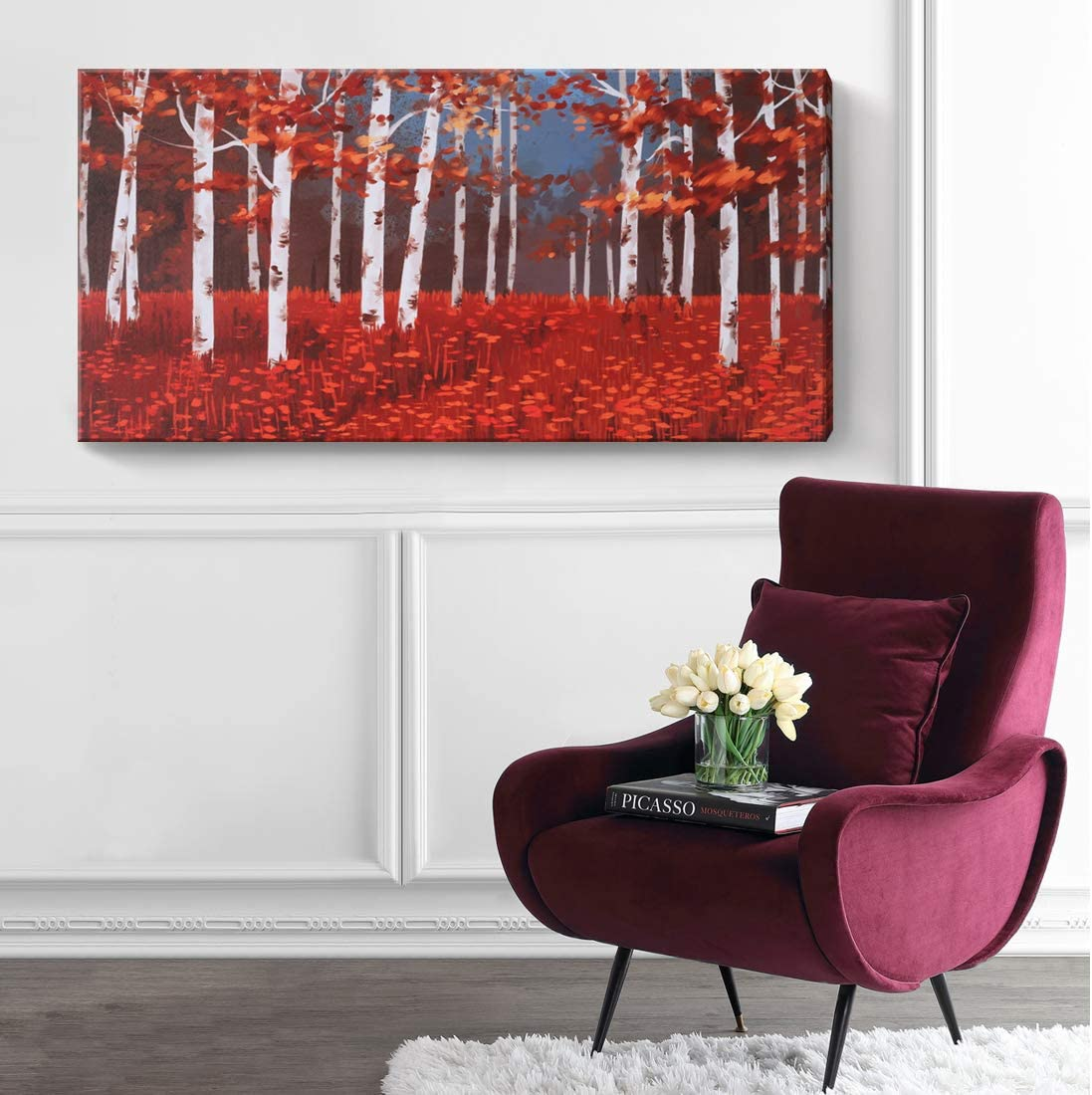 Large Red Tree Wall Art Abstract