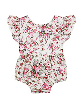 bb2c2f7c192 Toddler Baby Girls Floral Print Backless Ruffles Romper Infant Kids  Jumpsuit Playsuit Summer Outfit Clothes