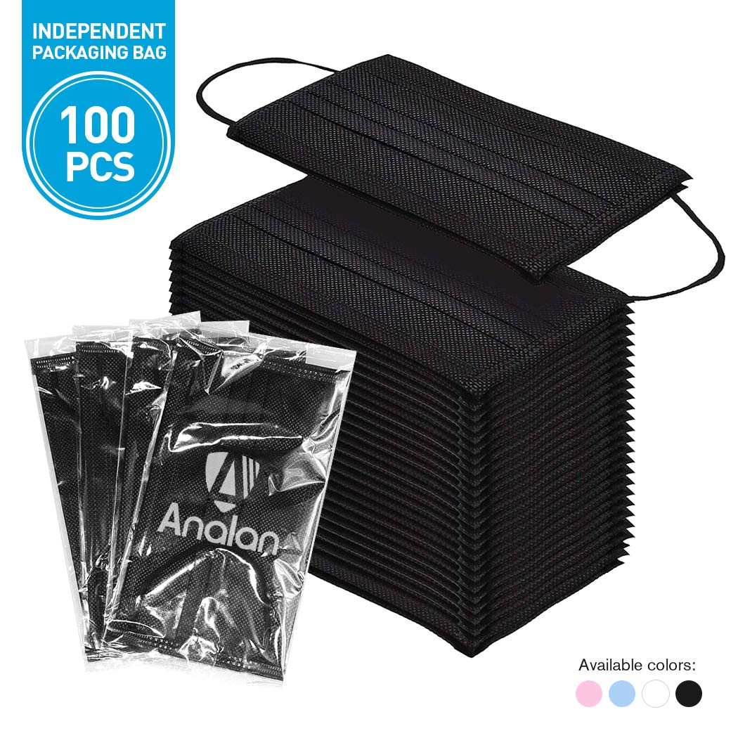 ANALAN 100 Pack Disposable Medical Surgical face mask for dust Allergies flu with Nose Strip (Black) by ANALAN