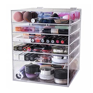 Display4top Caja acrílica Estante de maquillajes Maquillaje Cosméticos Joyería Organizador (6 Tier Clear): Amazon.es: Belleza