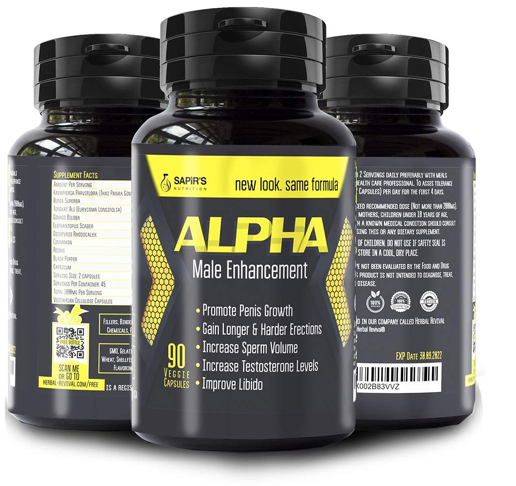 Natural ALPHA Male Testosterone Booster - Enlargement Pills Increases Size, Energy, Mood and Endurance - Most Potent & Powerful Male Performance Supplement 90 Vegan Capsules