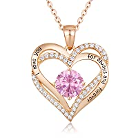 Forever Love Heart Women Necklace 925 Sterling Silver Rose Gold Plated September Birthstone Pendant Necklaces for Women with 5A Cubic Zirconia Jewelry Birthday Gifts for Women