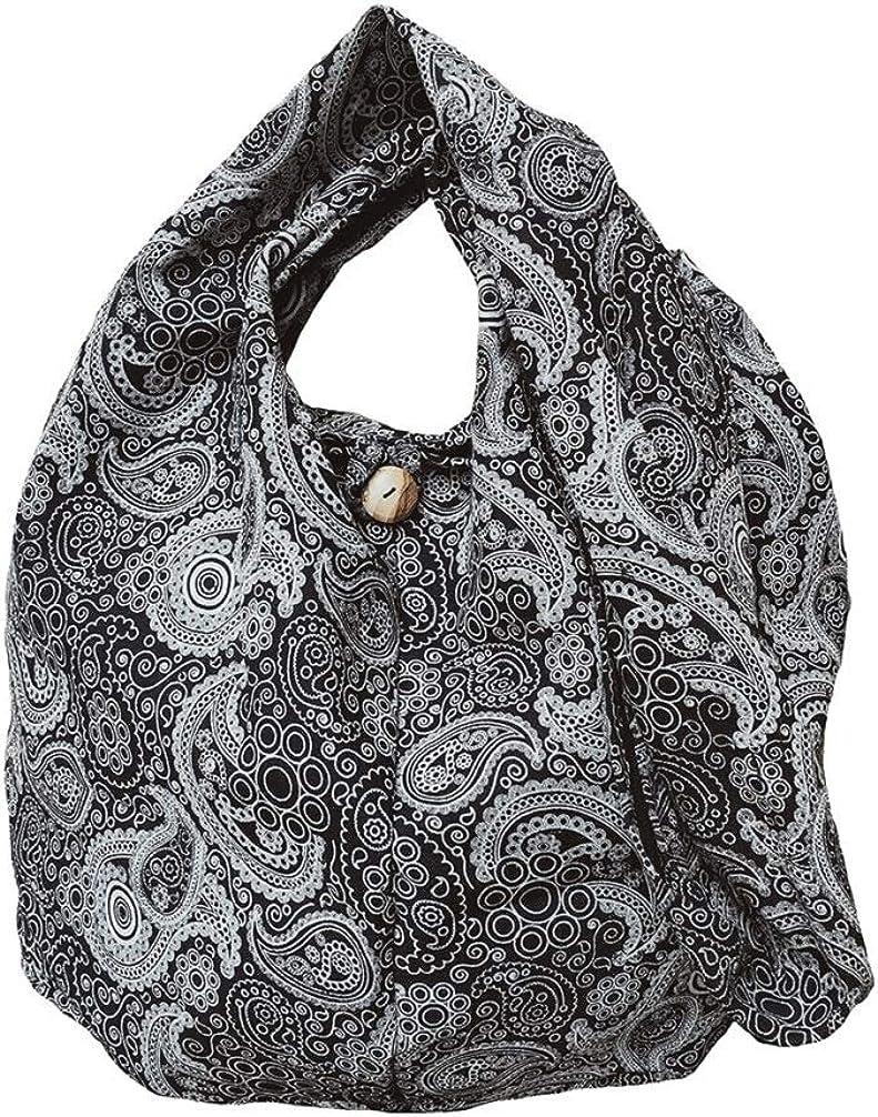 BTP! Thai Cotton Hippie Hobo Sling Crossbody Bag eco Friendly Shopping bag Paisley Print Large