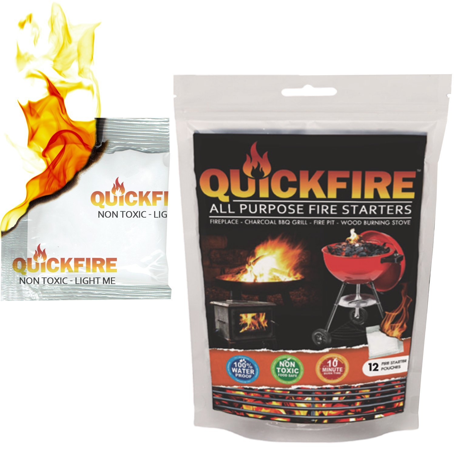 QUICKFIRE Instant Fire Starters. Voted #1 Camping and Charcoal BBQ Fire Starter of 2016, Waterproof, Odorless and Non-Toxic, Starter, 12 Pouches BL Corp Pack of 12