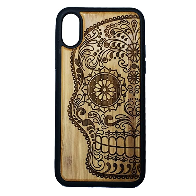 online store f1ed2 cb994 Sugar Skull Phone Case Cover for iPhone X by iMakeTheCase | Bamboo Wood  Cover + TPU Wrapped Edges | Artistic Day of The Dead Mexican Calavera  Catrina ...
