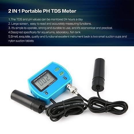 Dailyinshop Analizador de probador de Monitor de Acuario de Agua Digital 2 en 1 medidor de