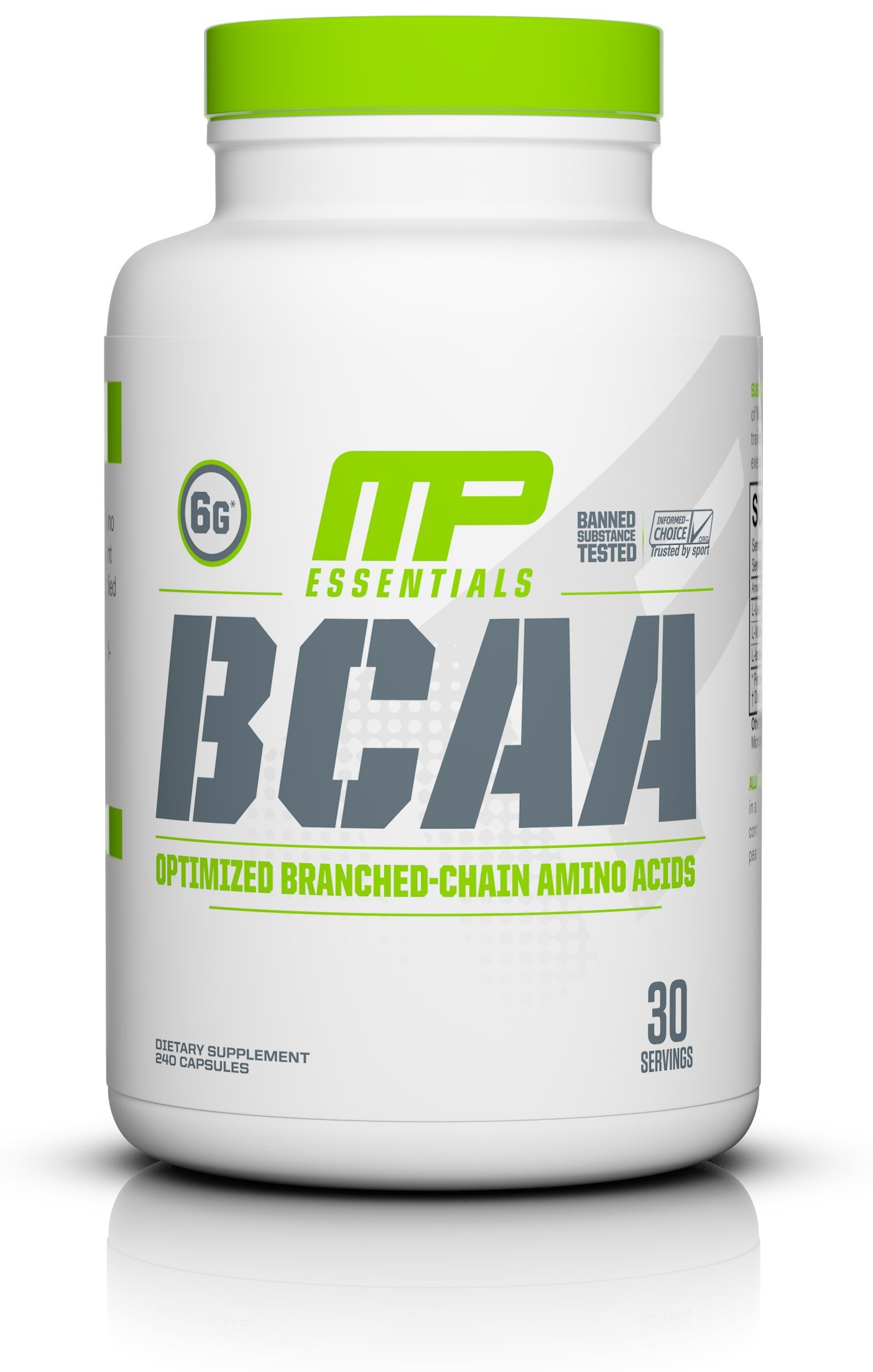 MusclePharm BCAA Caps, 6 Grams of BCAAs Amino Acids, Post Workout Recovery Drink for Muscle Recovery and Muscle Building, Unflavored, 30 Servings