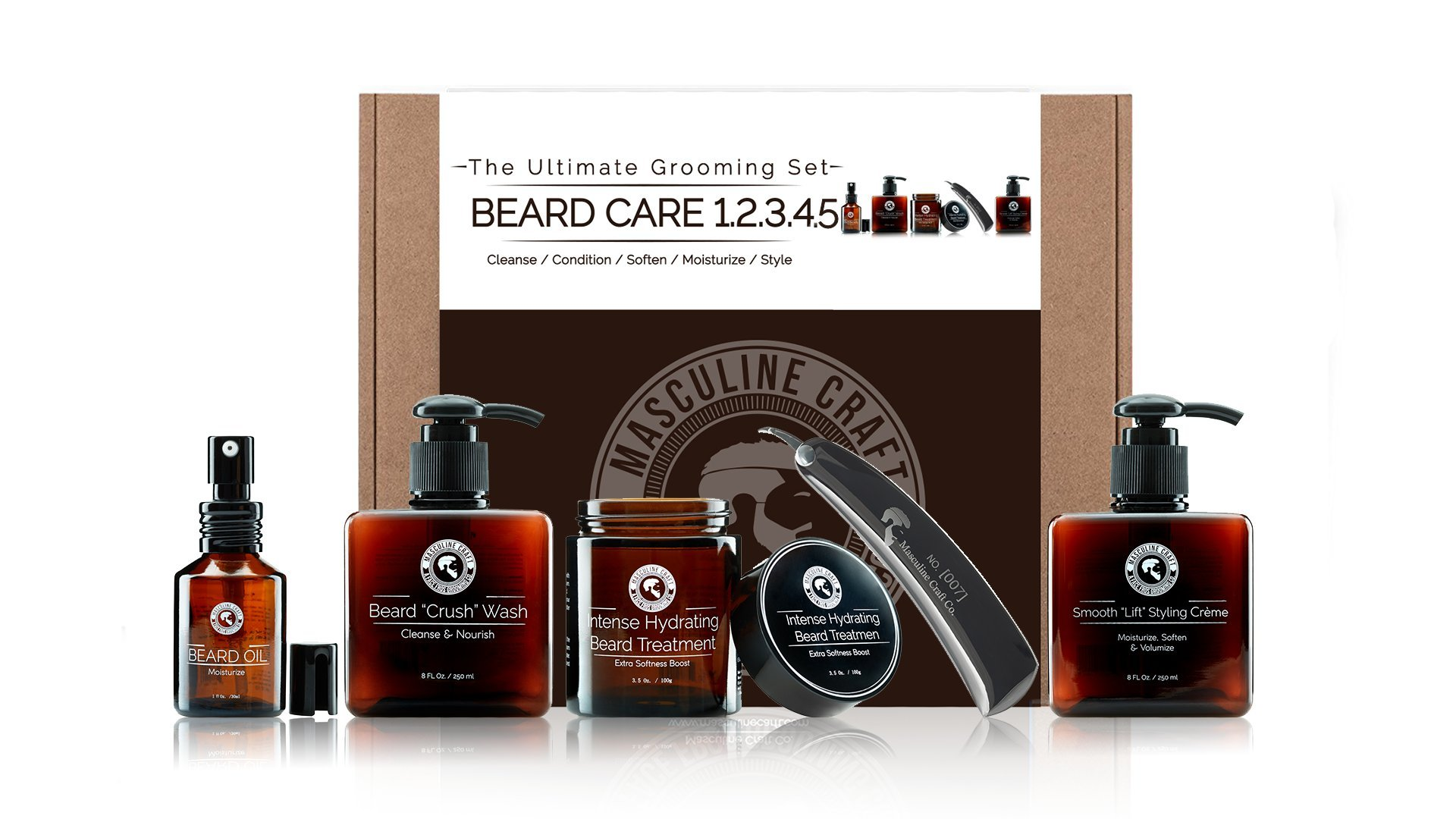 Masculine Craft Mens Beard Grooming Kit | Scented Beard Care Kit | Beard Wash Shampoo + Beard Softener Hydration Treatment + Beard Conditioner + Beard Oil Treatment + Stainless Steel Folding Beard Com