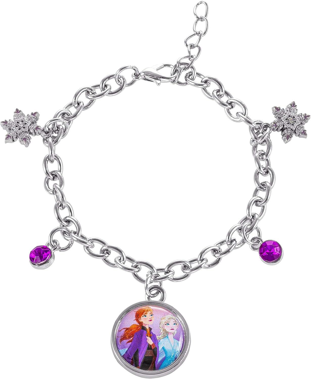 "Disney Frozen 2 Sisters Elsa and Anna Fashion Charm Bracelet, 6.5 + 1"" Extender"