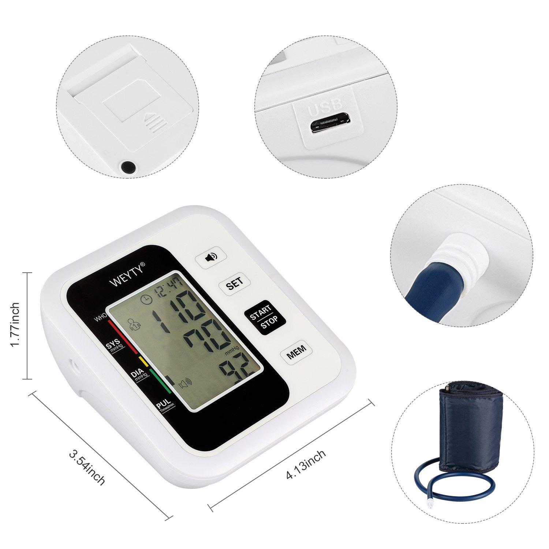 Oberarm Blutdruckmessgerät,WeyTy Automatisches Elektronisches Blutdruck Messgerät am Oberarm mit Sprachfunktion,WHO Anzeige, Arrhythmie-Erkennungfür zwei Benutzer,Standard-Manschette (22-32cm)