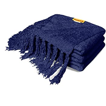 Amazon DOZZZ Summer Chenille Couch Throw With Decorative Fringe Enchanting Purple Chenille Throw Blanket