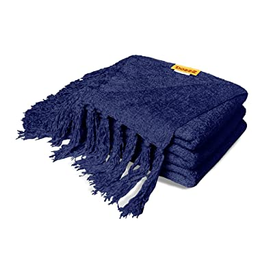 Fall Chenille Throw Blanket with Decorative Fringe Lightweight Cover for Couch Sofa Bed Chairs Furniture Home Decor Navy Blue