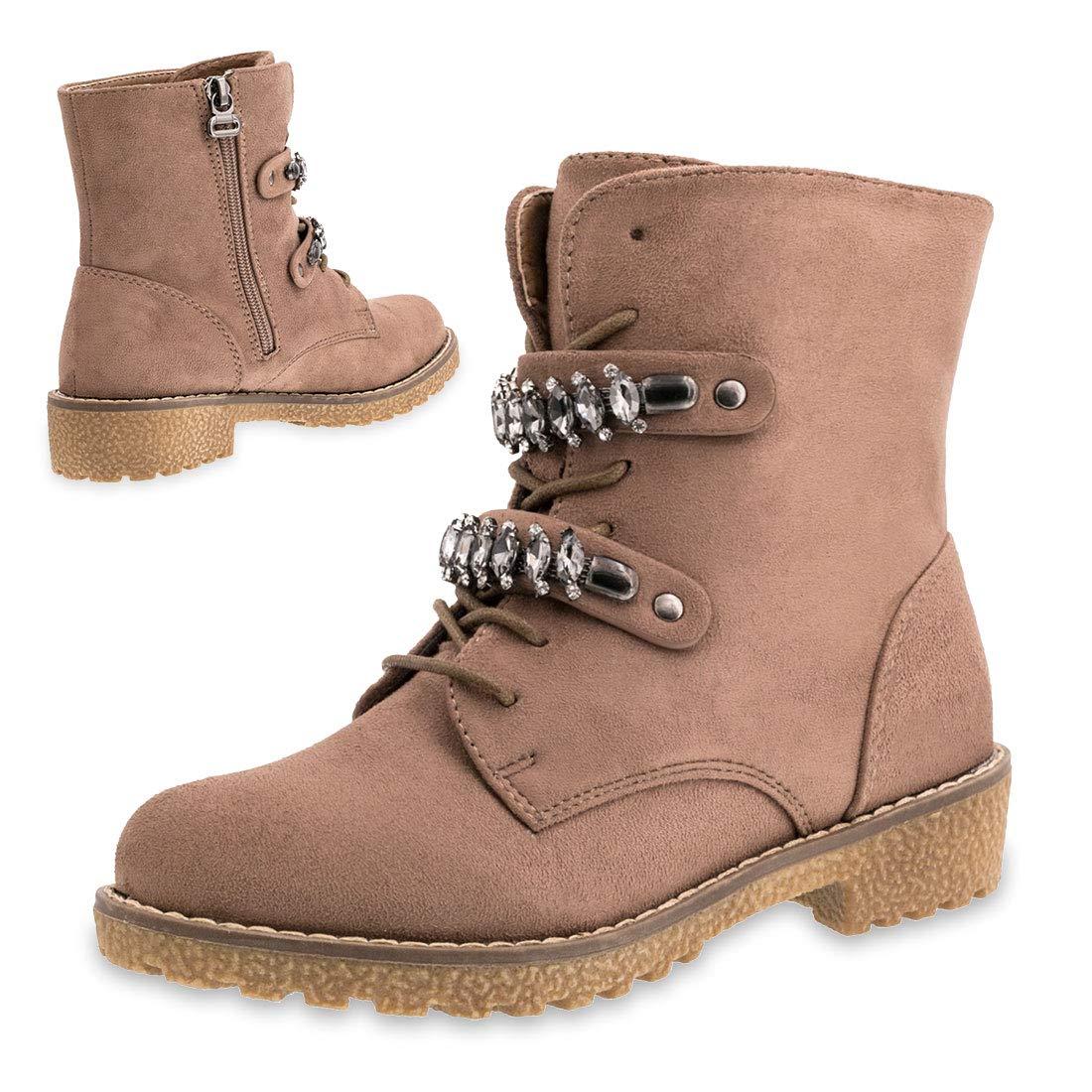 b40b25c2846f38 Marimo Damen Blogger Style Fashion Schnür Stiefeletten Worker Boots in  Wildlederoptik mit Strass gefüttert  Amazon.de  Schuhe   Handtaschen