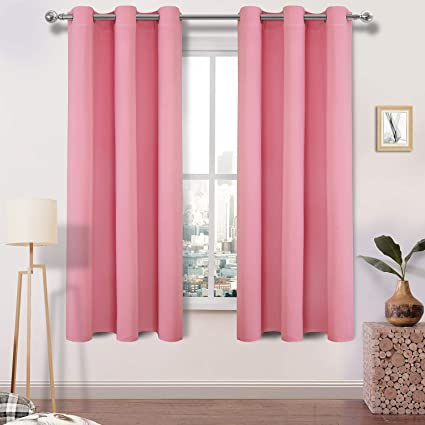 DWCN Pink Blackout Curtains Room Darkening Grommet Thermal Insulated Triple  Weaved 42 x 63 Inches Length Curtain Panels for Bedroom Girl Room, 4 Thick  ...