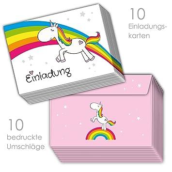 d1703c560c67cb emufarm 10 Einladungskarten zum Kindergeburtstag Regenbogen Einhorn  inklusive 10 passenden rosa Umschlägen / Einladungen Einhorn Einhornparty