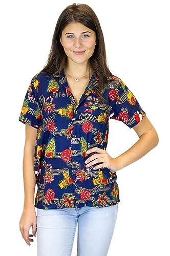 King Kameha Original Camisa Hawaiana   Mujeres   XS-6XL   Manga Corta   Bolsillo Delantero   Estampa...