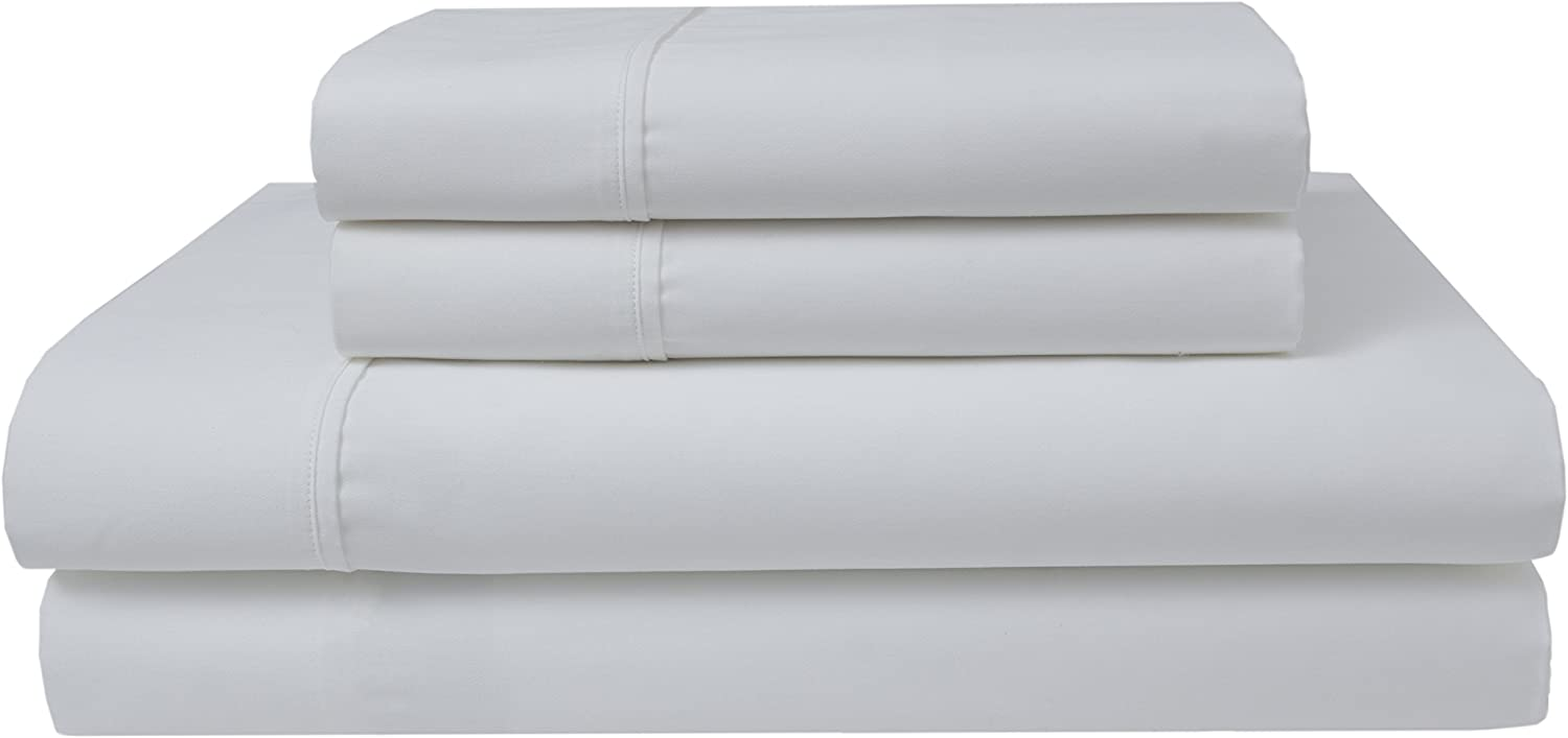 Elite Home Products 300 Thread Count Organic Cotton Deep-Pocketed Sheet Set, California King, White