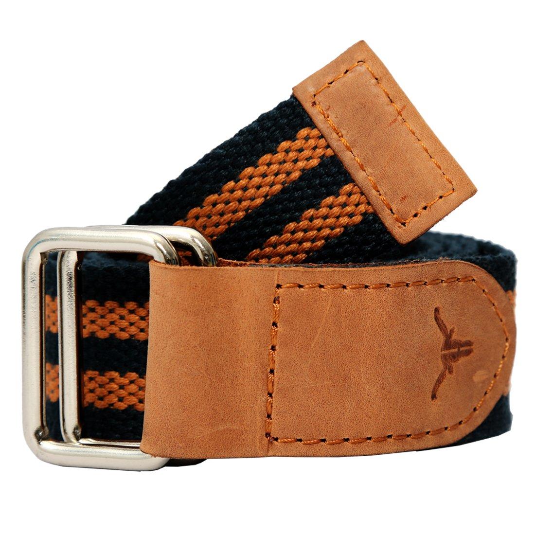 Hidekraft Unisex Canvas Leather Belt  Blue Tan, Free Size  Men's Belts