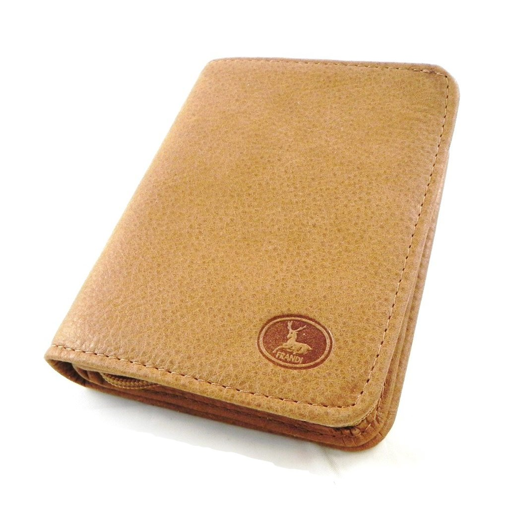 Wallet leather 'Frandi' brown nubuck camel.