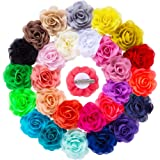 "YLQHT 3.1"" 28 Colors Baby Flower Hair Clips Chiffon Rose Wedding Flowers Hair Accessories"