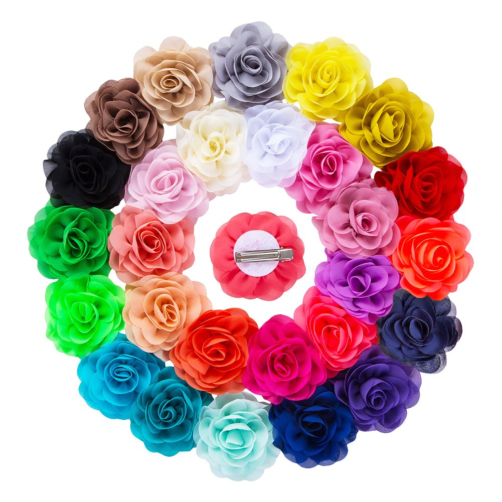 YLQHT 3.1'' 28 Colors Baby Flower Hair Clips Chiffon Rose Wedding Flowers Hair Accessories