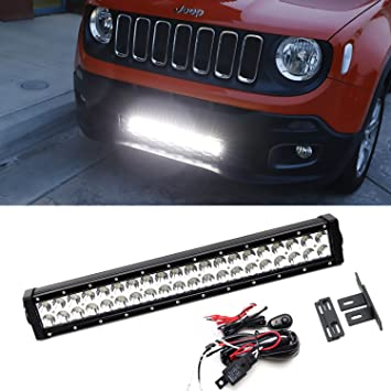 amazon com ijdmtoy 20 120w high power led light bar w behind ijdmtoy 20 quot 120w high power led light bar w behind grille mounting brackets
