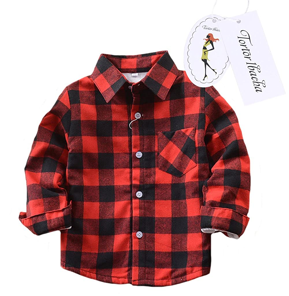 Little Girls' Long Sleeve Button Down Plaid Shirt Fleece Lined Red Black 5 Tortor 1bacha ZHSJE01-US-HHG-JR-130