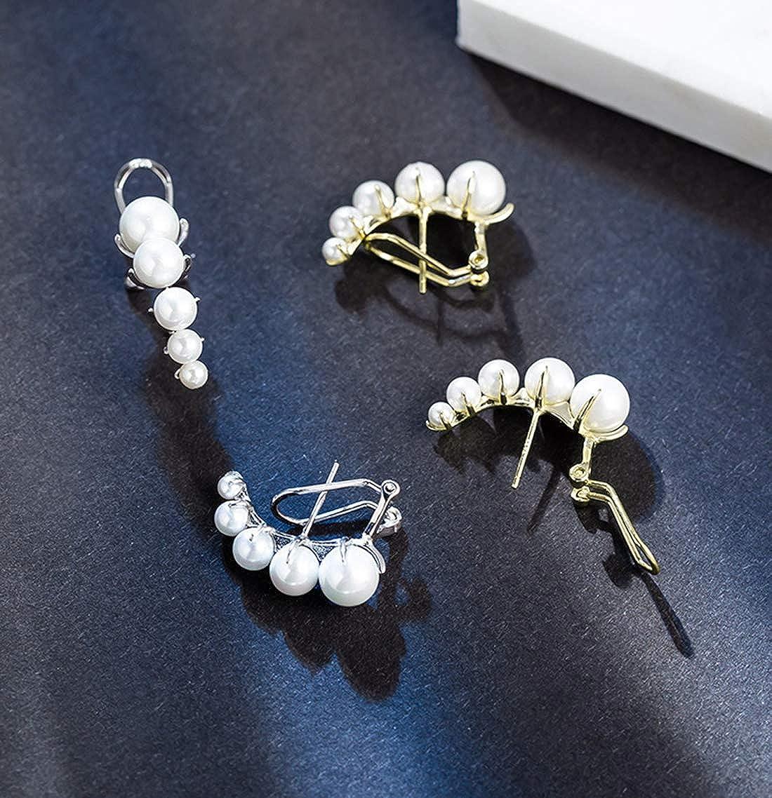SLUYNZ 925 Sterling Silver Shell Pearl Crawler Earrings Cuff for Women Yellow Gold Clip Ons Earrings