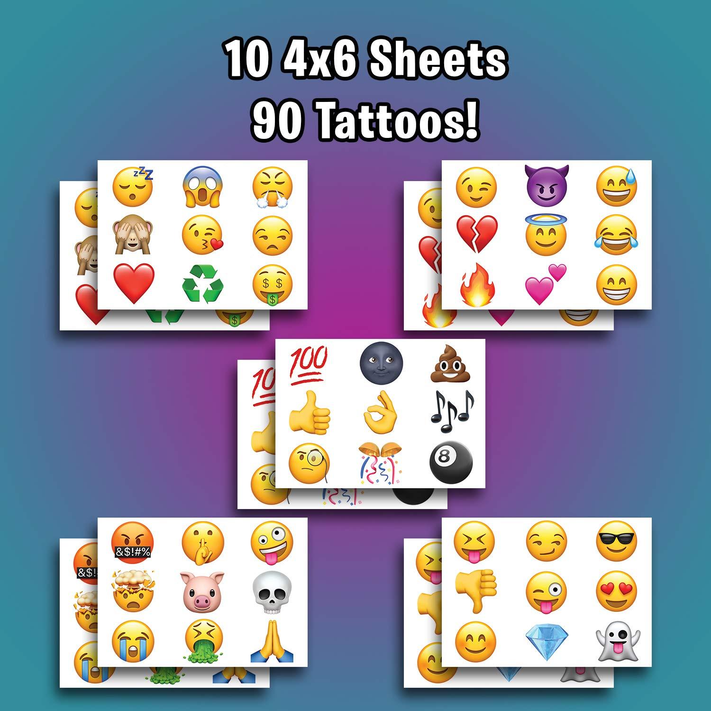Amazon.com: Tatuajes temporales de emoticonos – Juego de 90 ...