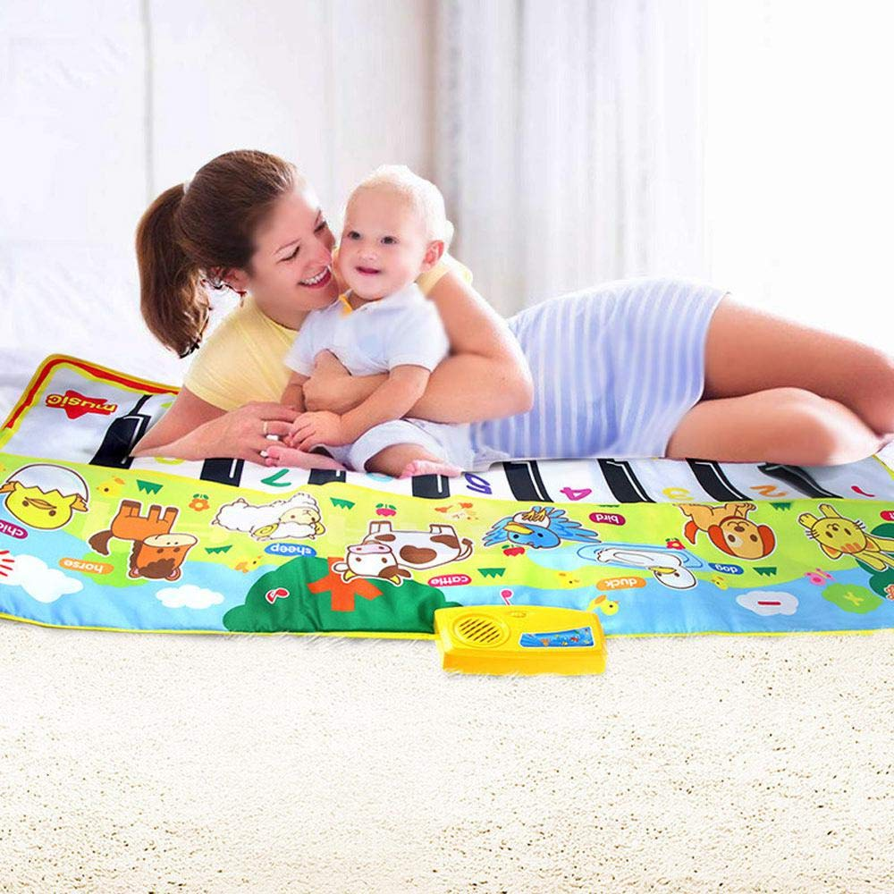 lesgos Piano Mat, Kids Colorful Electronic Dance Music Mat Toy, 19 Keys Educational Keyboard Playmat Musical Carpet Blanket for 3-6 Year Old Toddler Girls Boys by lesgos (Image #1)