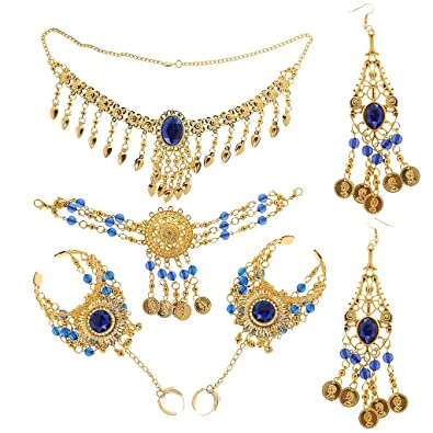 MagiDeal Womens Belly Dancing Costume Accessory Coin Necklace Earrings Headdress Hand Jewelry Set NJNwpI
