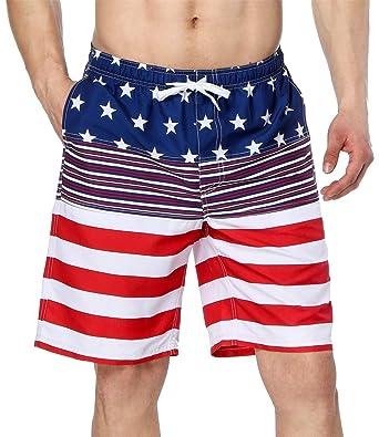 f16261304d beautyin Men's Beach Board Shorts Quick Dry America Flag Swim Trunks with  Pockets