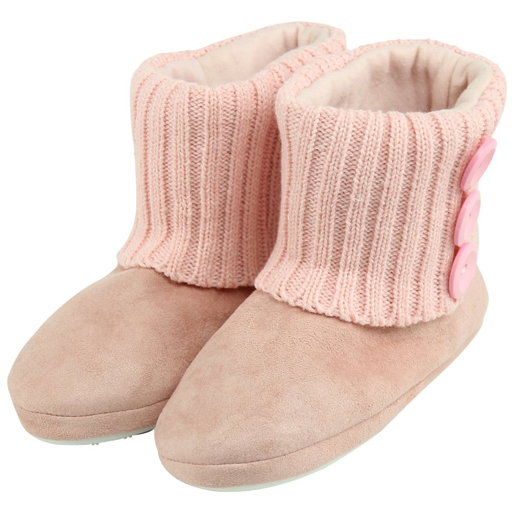 Forfoot Woman's Warm Winter Faux Suede Knit Indoor Slipper Booties House Pink US Women's Size 6