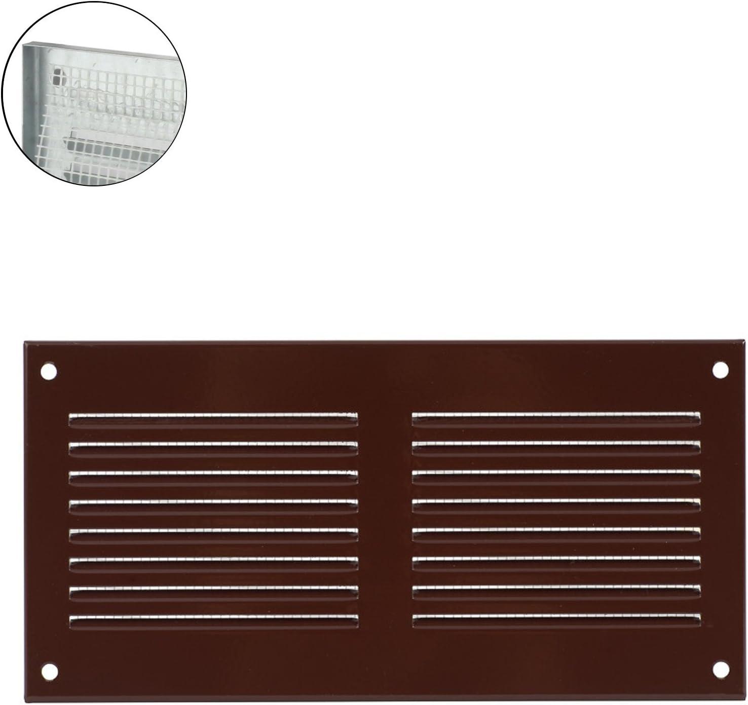 Grille de ventilation murale en m/étal entr/ée et sortie d/'air Protection anti-insectes MKK 18526 marron
