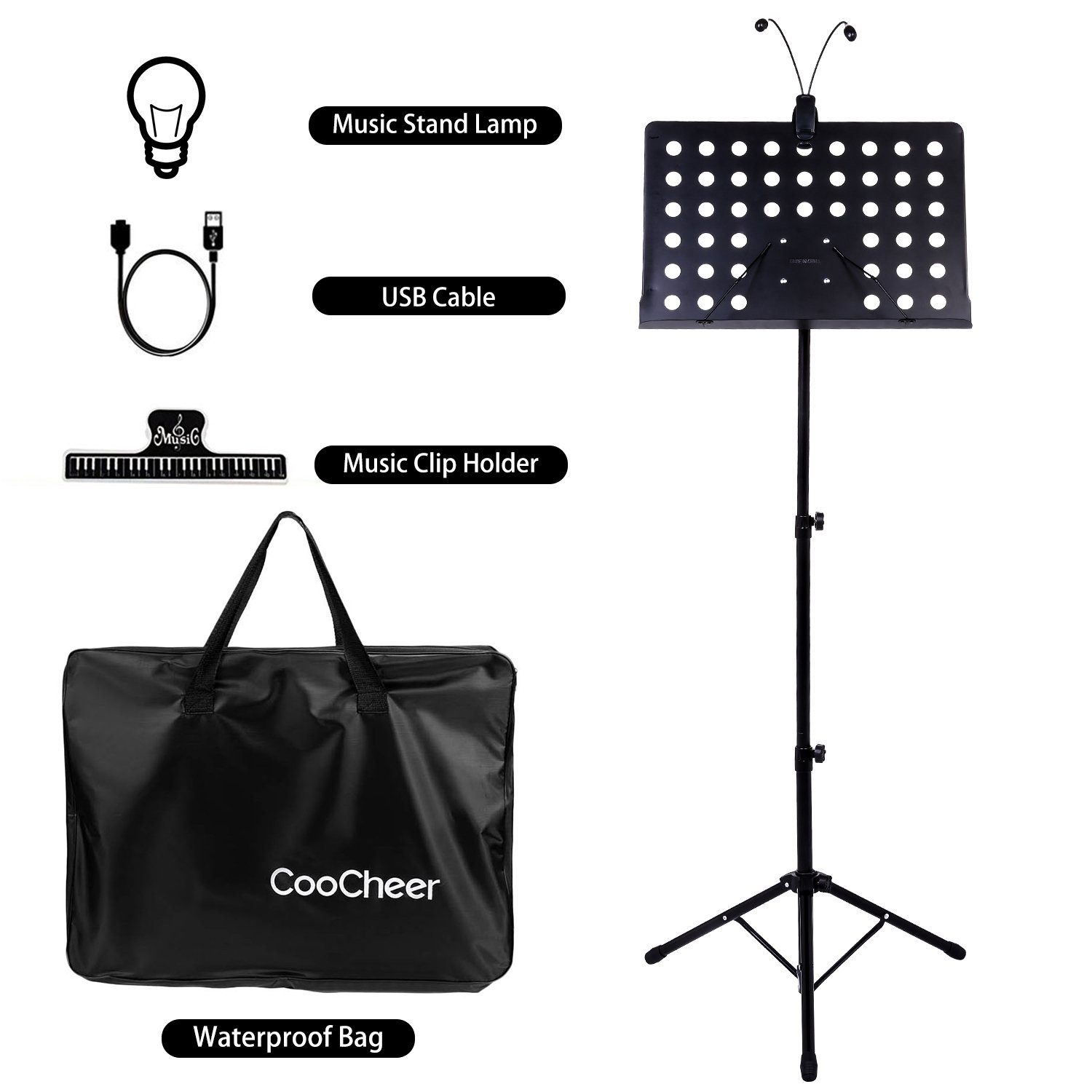 Music Stand, Coocheer Folding Music Sheet Stand with Carrying Bag, Suitable for Violin, Guitar, Flute and Instrumental Performance (music stand with led light)