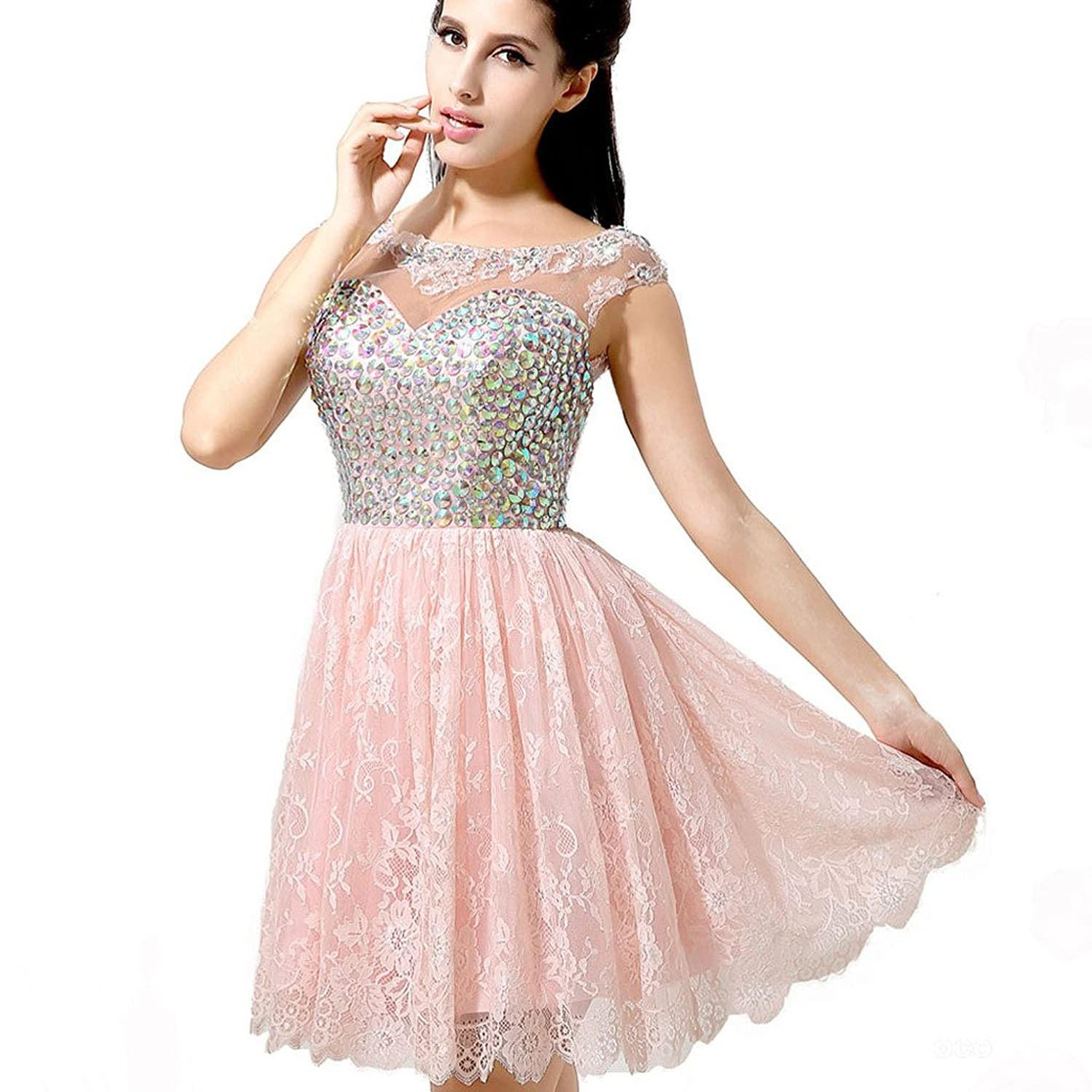 Clearbridal Women's Lace Prom Dresses Pink AJ037