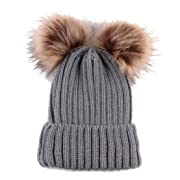 TrimakeShop Baby Infant Toddler Winter Crochet Hat Hairball Knitted Pom Beanie (Gray 2)