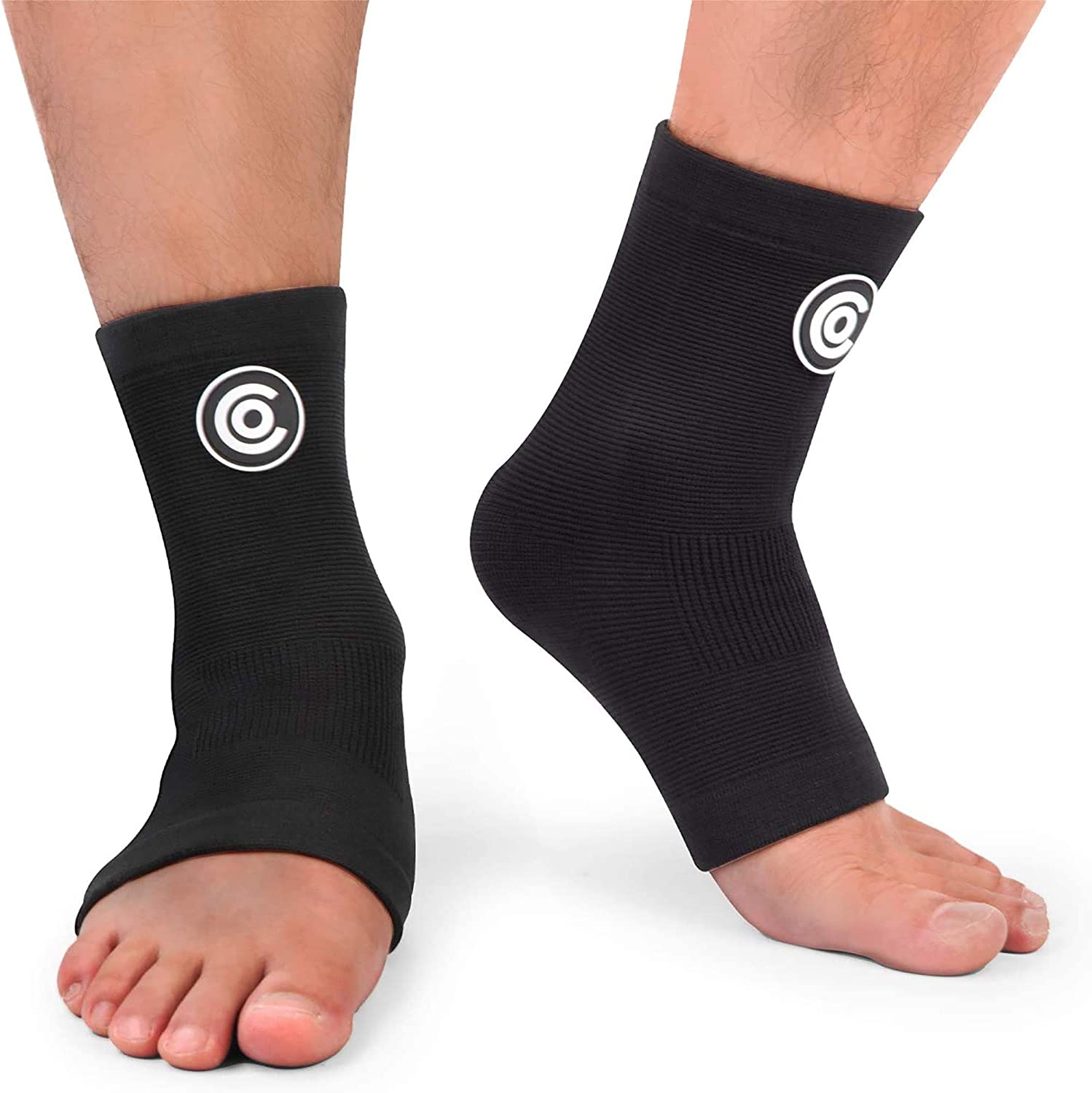 Injury Recovery Ankle Swelling Achilles Tendonitis Compression Foot Sleeves with Arch Support for Running Plantar Fasciitis Heel Spurs CAMBIVO 2 Pairs Ankle Brace Compression Support Sleeve