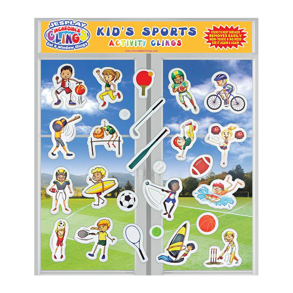 Basketball Sticks to Most Surfaces JesPlay Soccer Football Sailing Tennis Window Clings for Kids and Toddlers Reusable Puffy Stickers Kids Sports by Incredible Gel and Window Clings