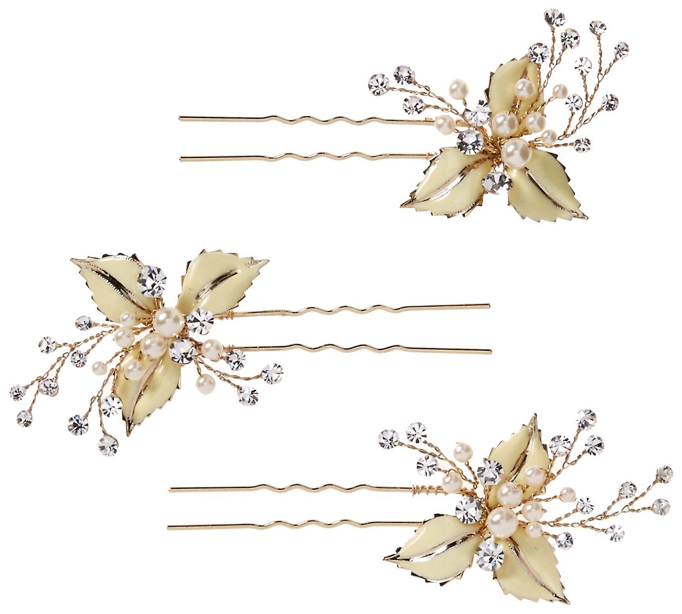 Twigs & Honey Women's Set Of 3 Petite Enamel Leaf Bobby Pins, Gold, One Size by Twigs & Honey