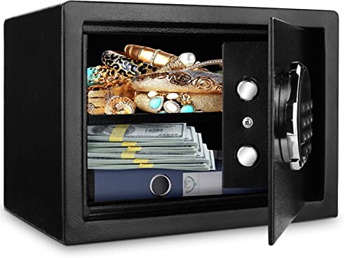 BATHWA Digital Electronic Safe Security Box, Steel Deposit Safe for Home Office, Cabinet Safe with Keypad for Jewellery Money Valuables, Wall-Anchoring Design, 0.7 Cubic Feet Capacity