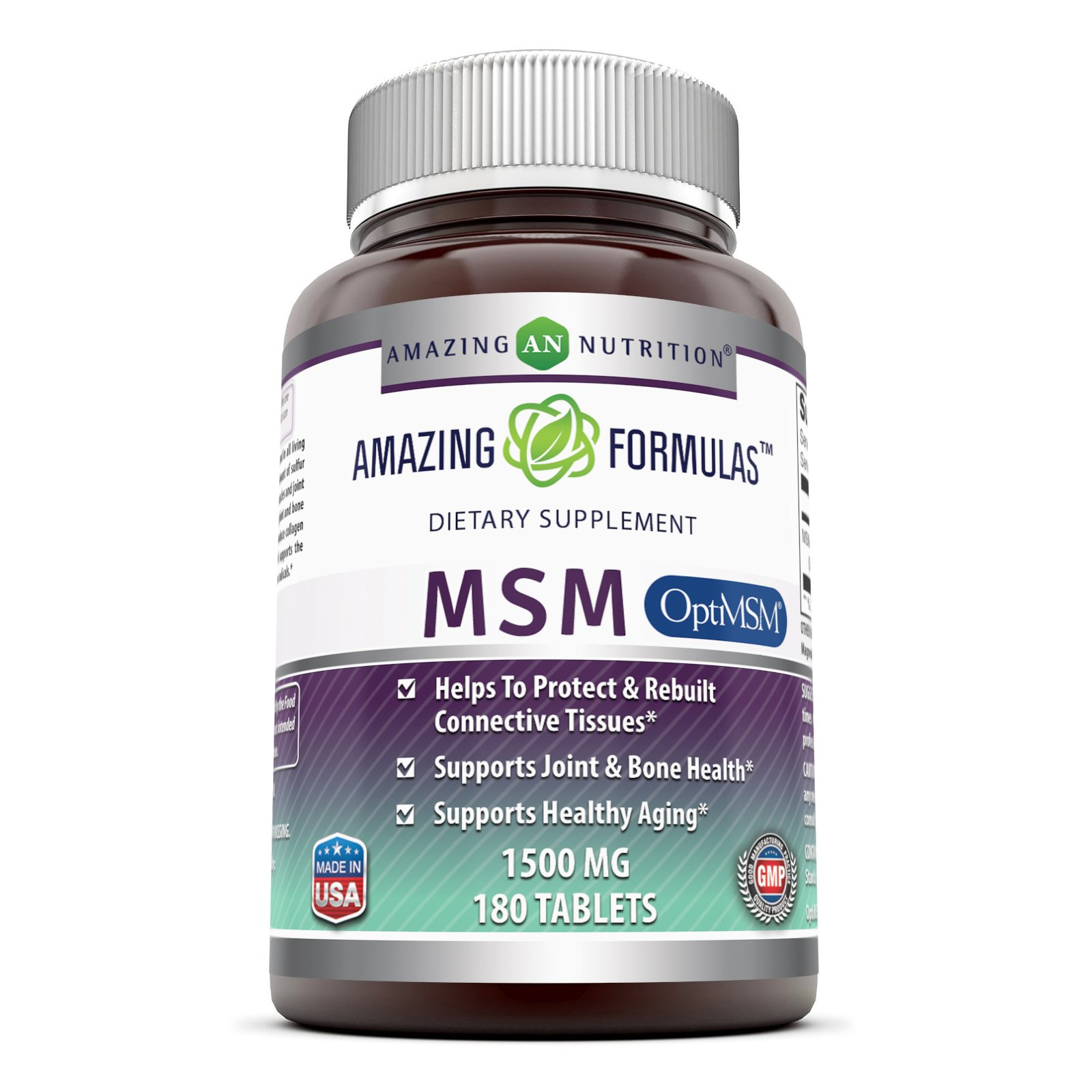 Amazing Formulas OptiMSM - 1500 mg 180 Tablets - Supports Connective Tissue, Healthy Aging & Joint Function, Skin Health