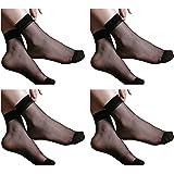 Nawab Ultra-Thin Black Sheer Net Skin Ankle Length No Show Women/Girl Socks( 4 PAIR)