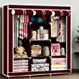 Anvera Ideas For Home Iron Fancy and Portable Foldable Almirah Wardrobe with 6 Cabinet and 2 Long Shelves Clothes Organizer Multicolor