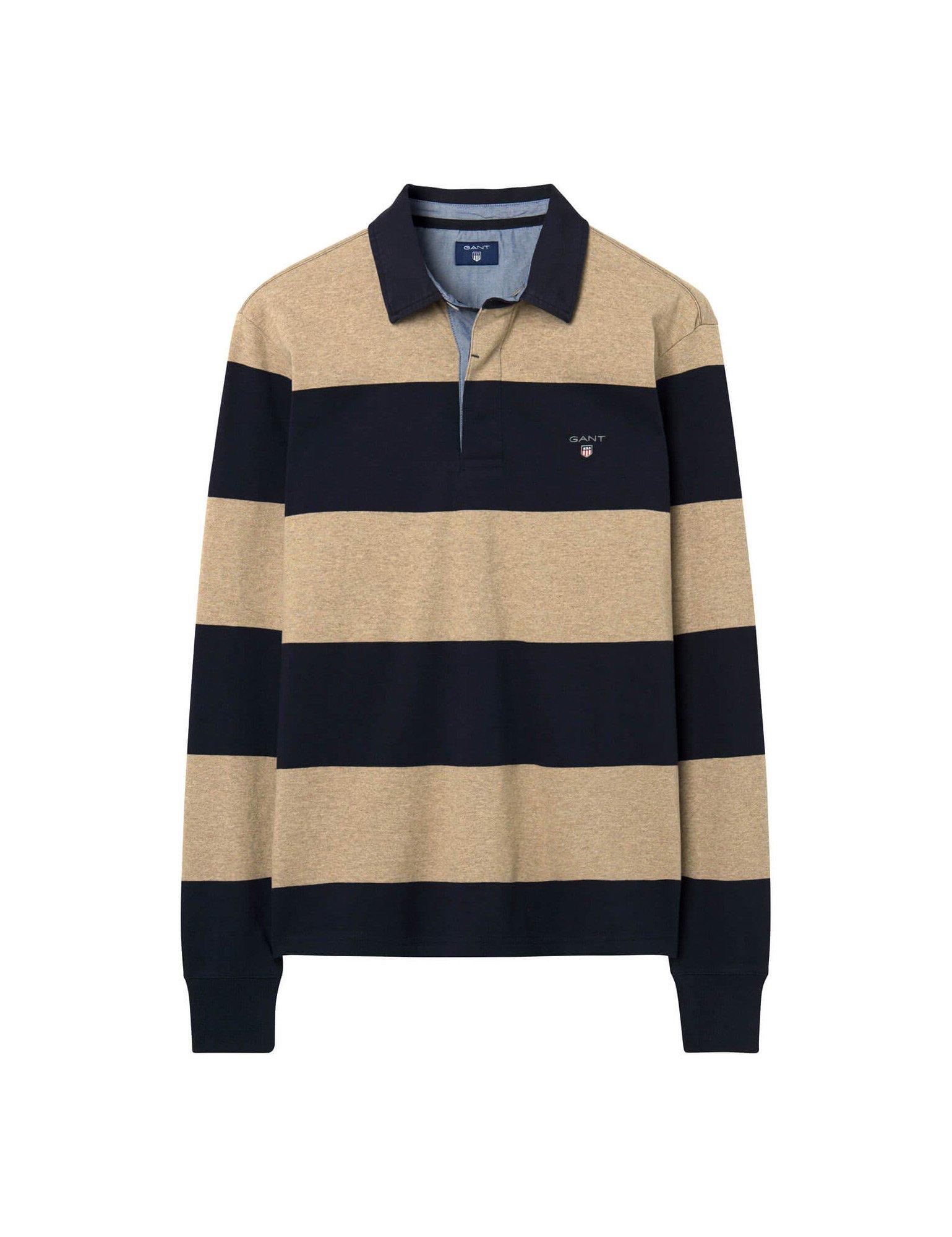 Gant Men's Men's Beige Bar Striped Rugby Shirt in Size M Beige