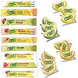 True Lemon Sample Kit: Strawberry, Wildberry, Limeade, Watermelon, Black Cherry, Mango Orange, Peach, Lemonade, Raspberry 1 stick each flavor & Lemon, Lime, Orange, and Grapefruit packets.
