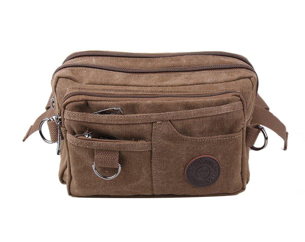 Genda 2Archer Vintage Canvas Waist Bag Multiple Pocket Fanny Pack Hip Purse Belt Bag Bum Bag for Sports Travel (Coffee)